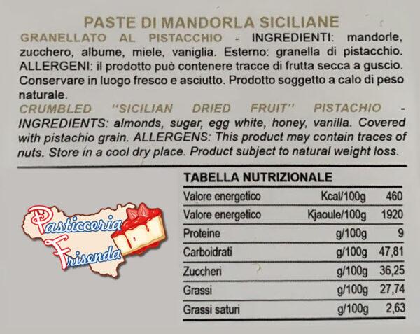 etichetta ingredienti pasta di mandorle siciliane
