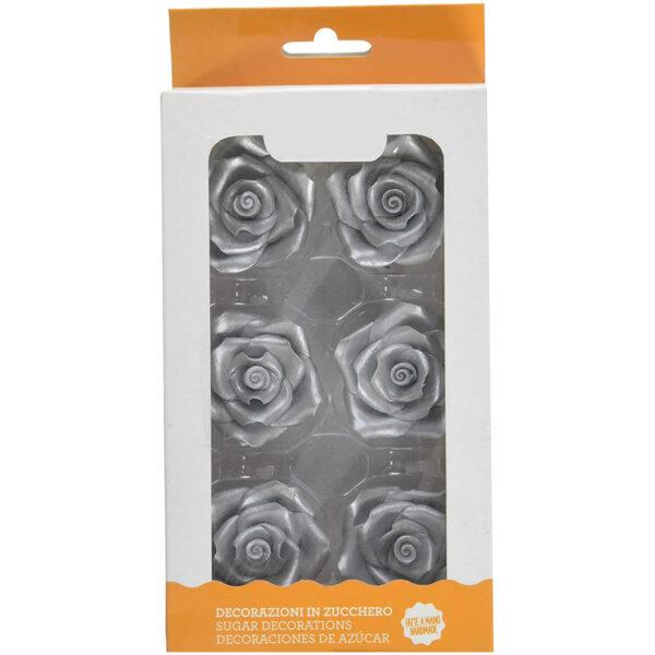 rose grandi color argento decorazione torte